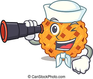 Sailor with binocular pumpkin pie isolated in the mascot ...