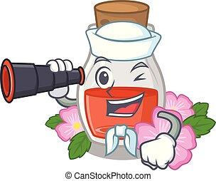 Sailor with binocular rose seed oil the cartoon shape