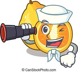 Sailor with binocular ugli fruit in the cartoon fridge...