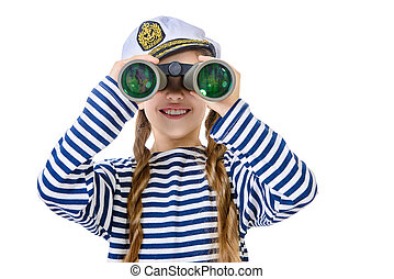 sailor with binoculars - Joyful teen girl wearing sailor's...