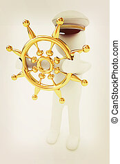 Sailor with gold steering wheel and earth. Trip around the world concept . 3D illustration. Vintage style.