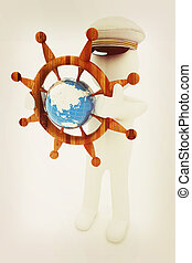 Sailor with wood steering wheel and earth. Trip around the world concept . 3D illustration. Vintage style.