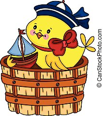 Sailor yellow chick playing little boat in wooden tub