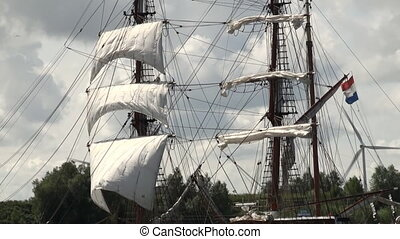 Sails and rigging - The rigging of a tall ship sailing boat...