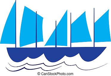 Sails on the sea
