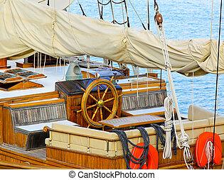 Sailship wheelhouse