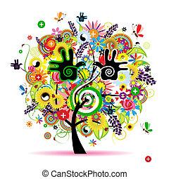 sain, énergie, arbre, conception, herbier, ton