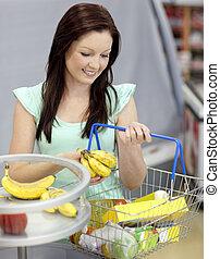 sain, épicerie, achat, bananes, femme, magasin