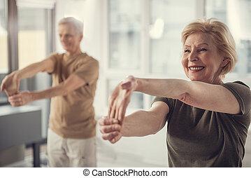 sain, être, forme, retraités, excellent