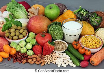 sain, alcalin, sélection, nourriture