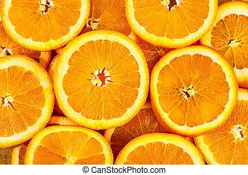 sain, arrière-plan., nourriture, orange