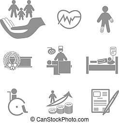 sain, assurance-vie, collection, icônes