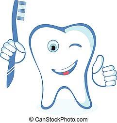sain, blanc, brillant, dent