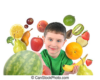 sain, blanc, fruit, enfant