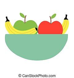 sain, bol, salade, fruits