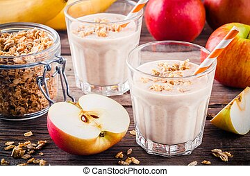 sain, breakfast:, smoothie, à, granola, pomme rouge, et, banane