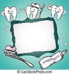 sain, brosse dents, cadre, dents, dentifrice