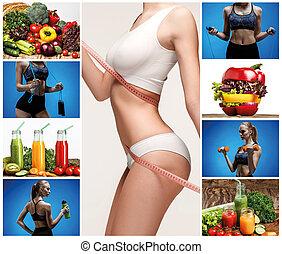 sain, collage, femme, vegetables., jeune