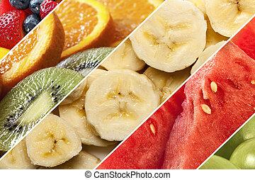 sain, collage, fruits