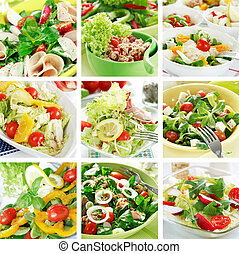sain, collage, salades