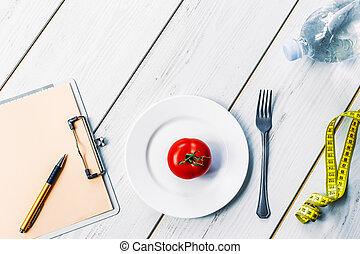 sain, concept, manger, régime