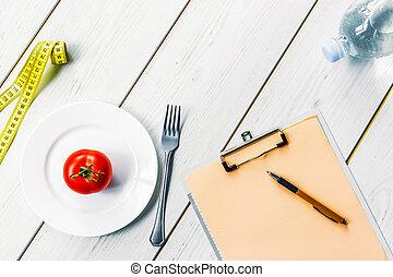 sain, concept., manger, régime
