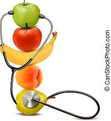 sain, concept., régime, fruit, vector., stethoscope.
