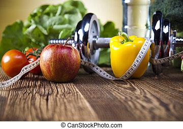 sain, concept, style de vie, vitamines