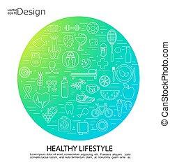sain, concept, symbols., style de vie