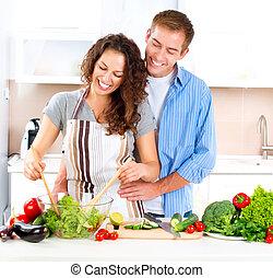 sain, couple, cuisant aliment, dieting., ensemble., heureux