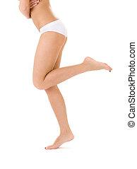 sain, culotte, bikini, jambes, blanc