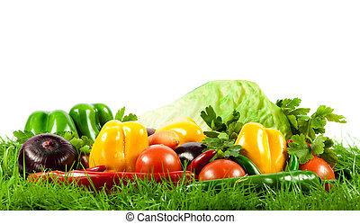 sain, eating., saisonnier, organique, cru, vegetables.
