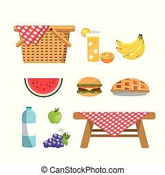 sain, ensemble, vin, panier, fruits