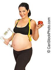sain, femme heureuse, pregnant