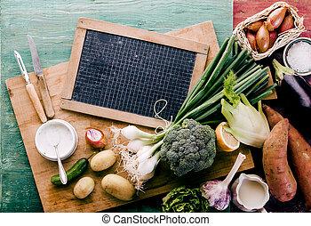 sain, ferme, légumes, dîner, frais