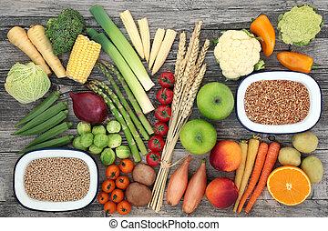 sain, fibre, élevé, nourriture, régime