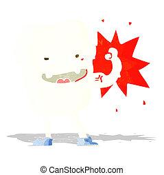sain, fort, dessin animé, dent