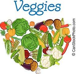 sain, frais, coeur, légumes