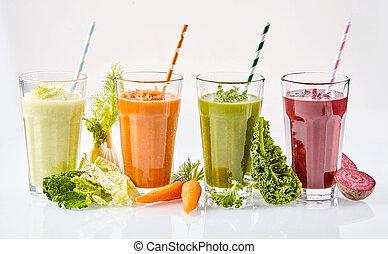 sain, frais, végétarien, smoothies, végétarien