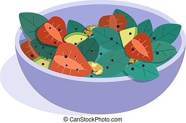 sain, fruits, plat, concept, salad., vecteur, illustration., manger