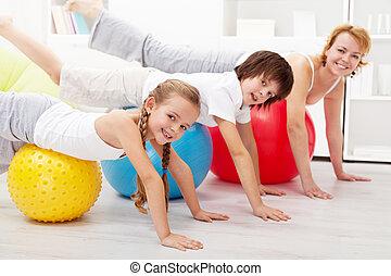sain, gens, faire, équilibrage, exercice, chez soi