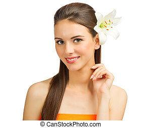 sain, girl, fleur, jeune