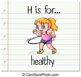 sain, h, lettre, flashcard