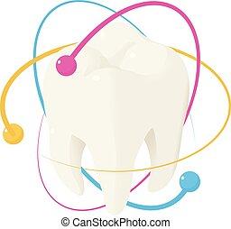 sain, icône, isométrique, style, dent