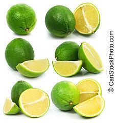 sain, isolé, nourriture, vert, fruits, frais, chaux