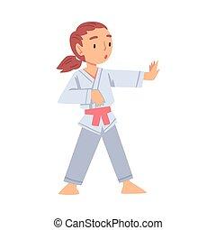 sain, karaté, gosse, pratiquer, art, girl, sports, style, illustration, martial, style de vie, vecteur, concept, dessin animé