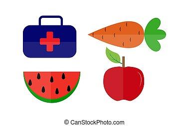 sain, kit médical, nourriture, dessin, simple