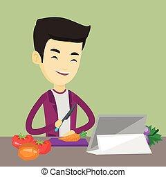 sain, légume, cuisine, homme, salad.