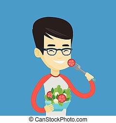 sain, légume, homme, manger, salad.