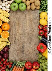 sain, légumes, copyspace, fruits